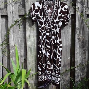 Enfocus Studio brown & white stretch dress
